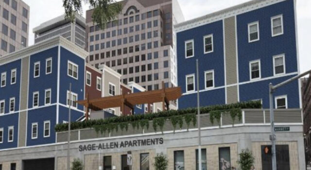 Rendering of downtown infill apartment development with roof deck and black signage