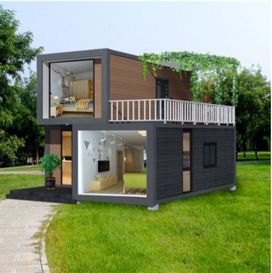 Container Homes stacked with Dark Siding white railing and upper deck
